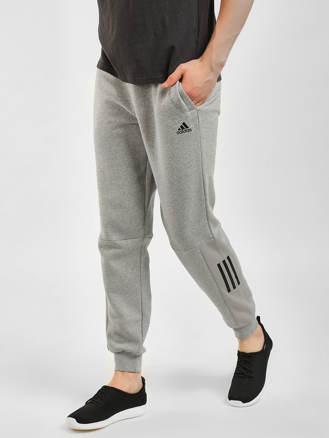 Adidas Grey Side Detail Joggers 1