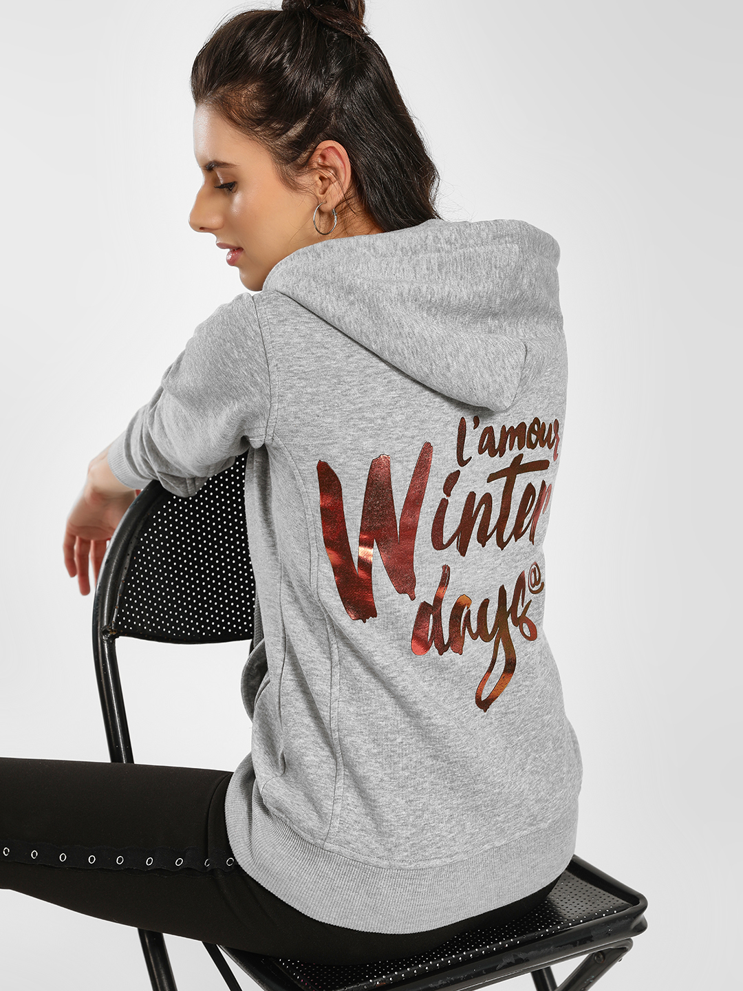 KOOVS Grey Slogan Back Hooded Jacket 1