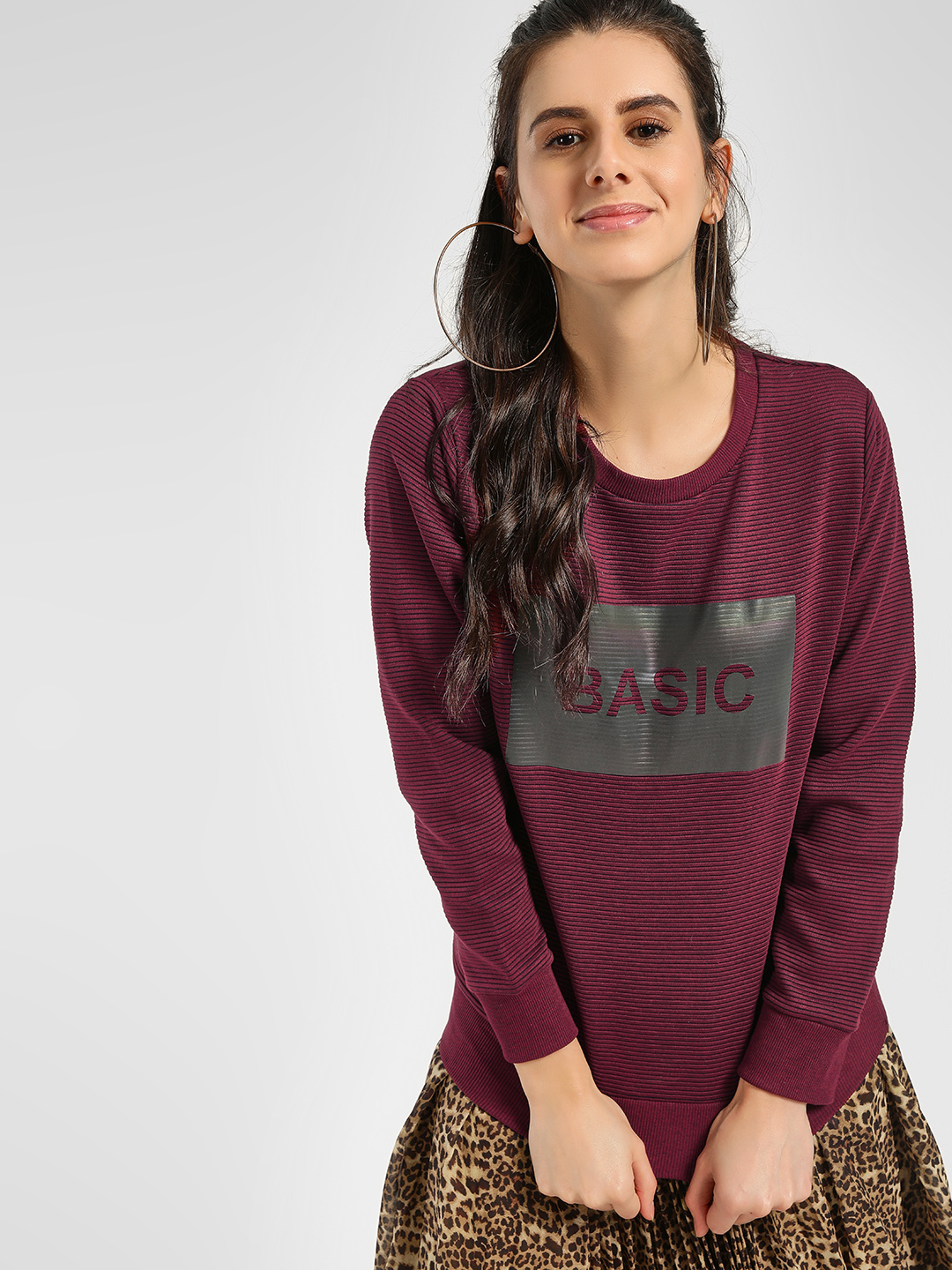 KOOVS Red Text Placement Print Sweatshirt 1