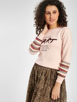 KOOVS Lace Detail Slogan Printed Sweatshirt