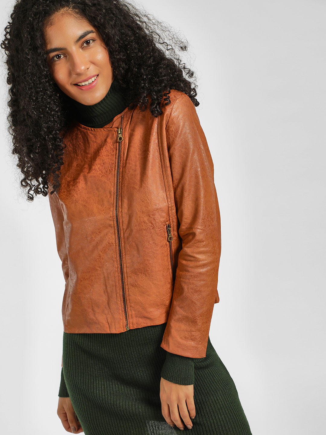 KOOVS Brown Long Sleeve Biker Jacket 1