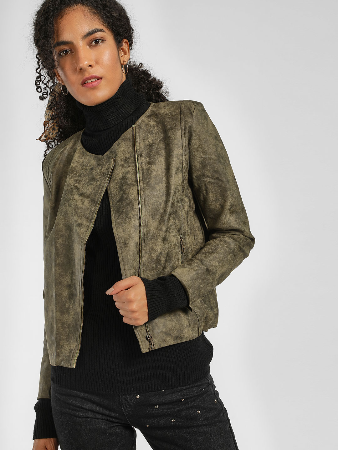 KOOVS Green Long Sleeve Biker Jacket 1