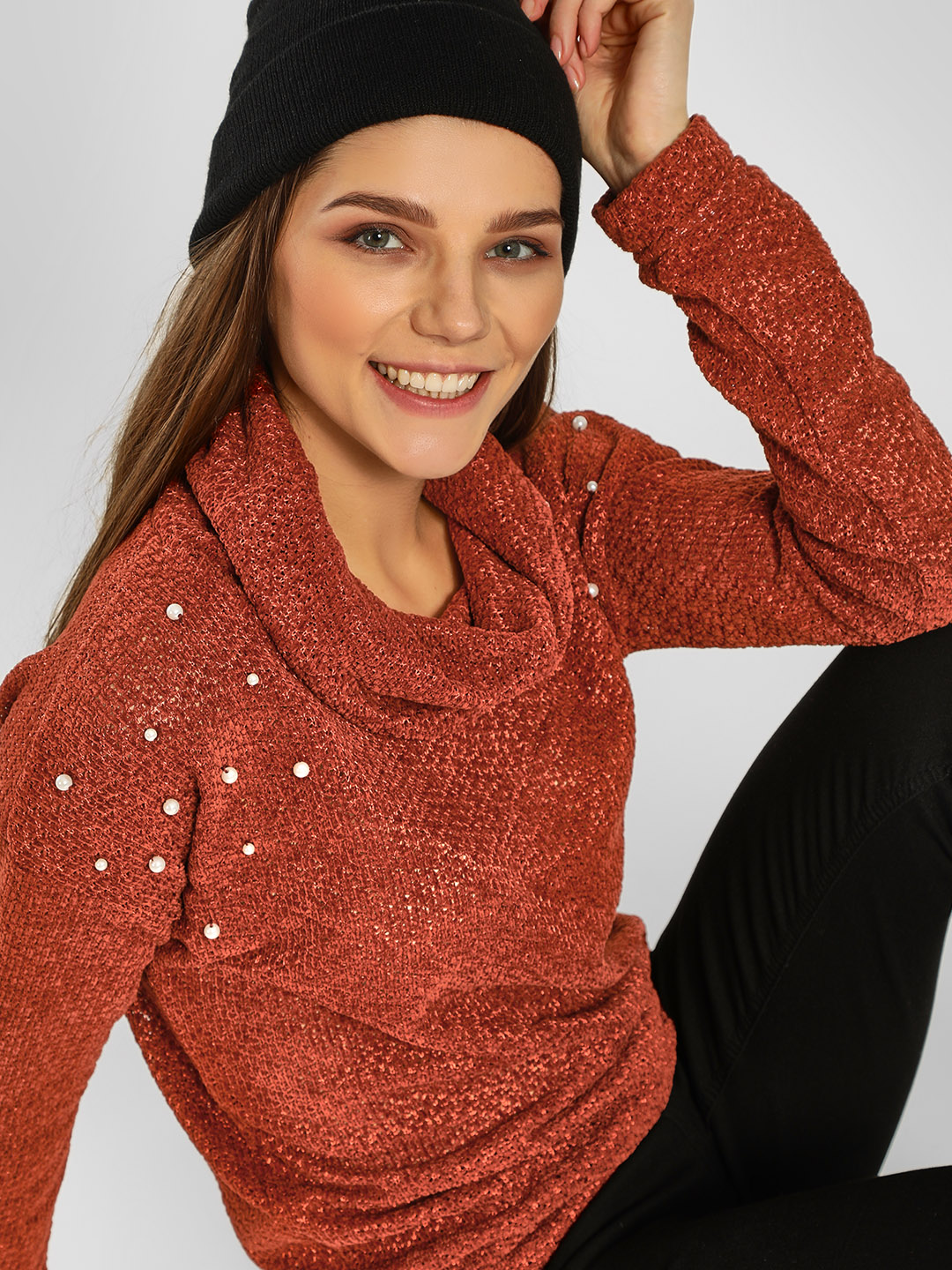 KOOVS Brown Pearl Embellished Funnel Neck Pullover 1