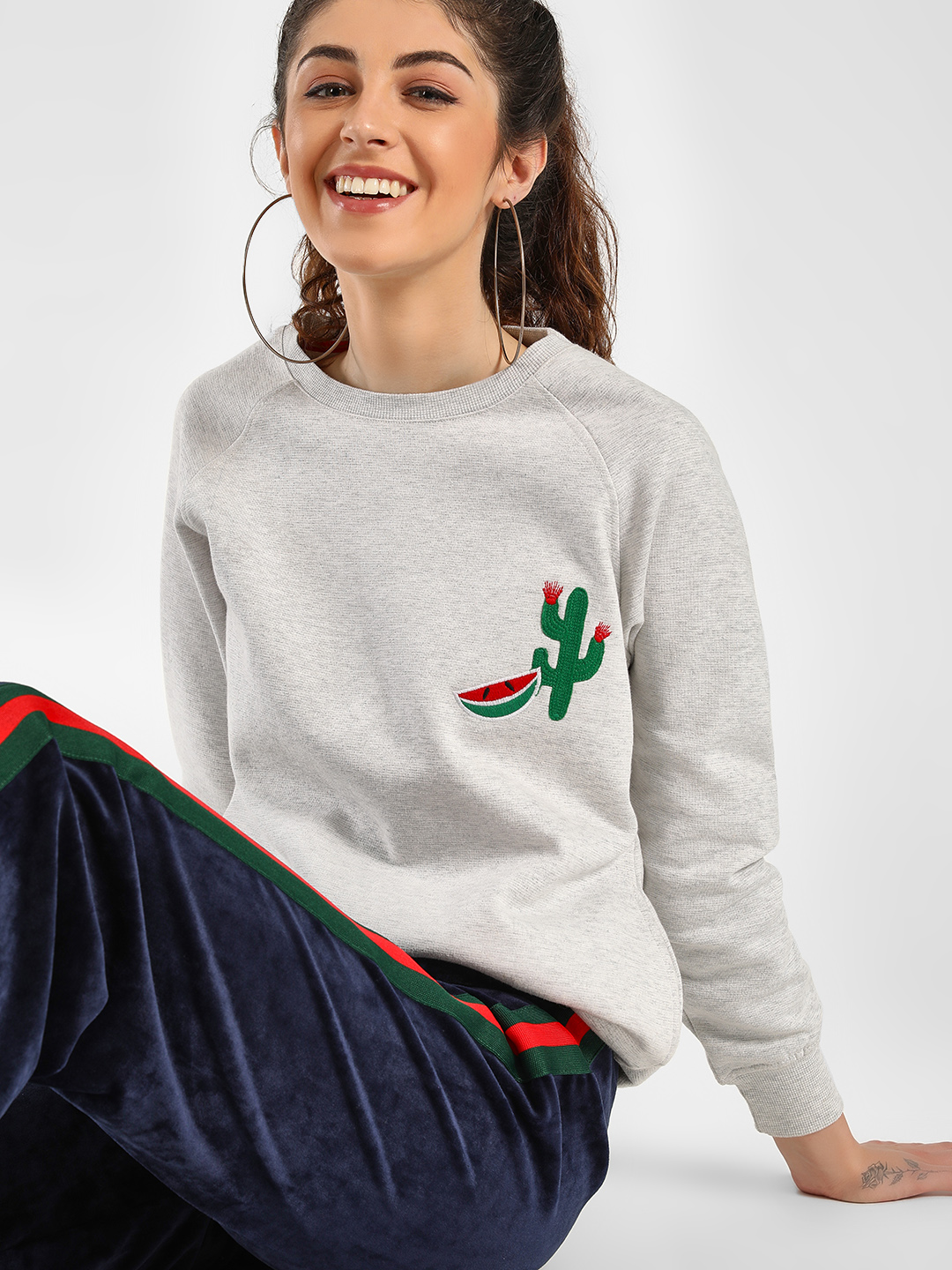 KOOVS White Shimmer Patch Embroidered Sweatshirt 1