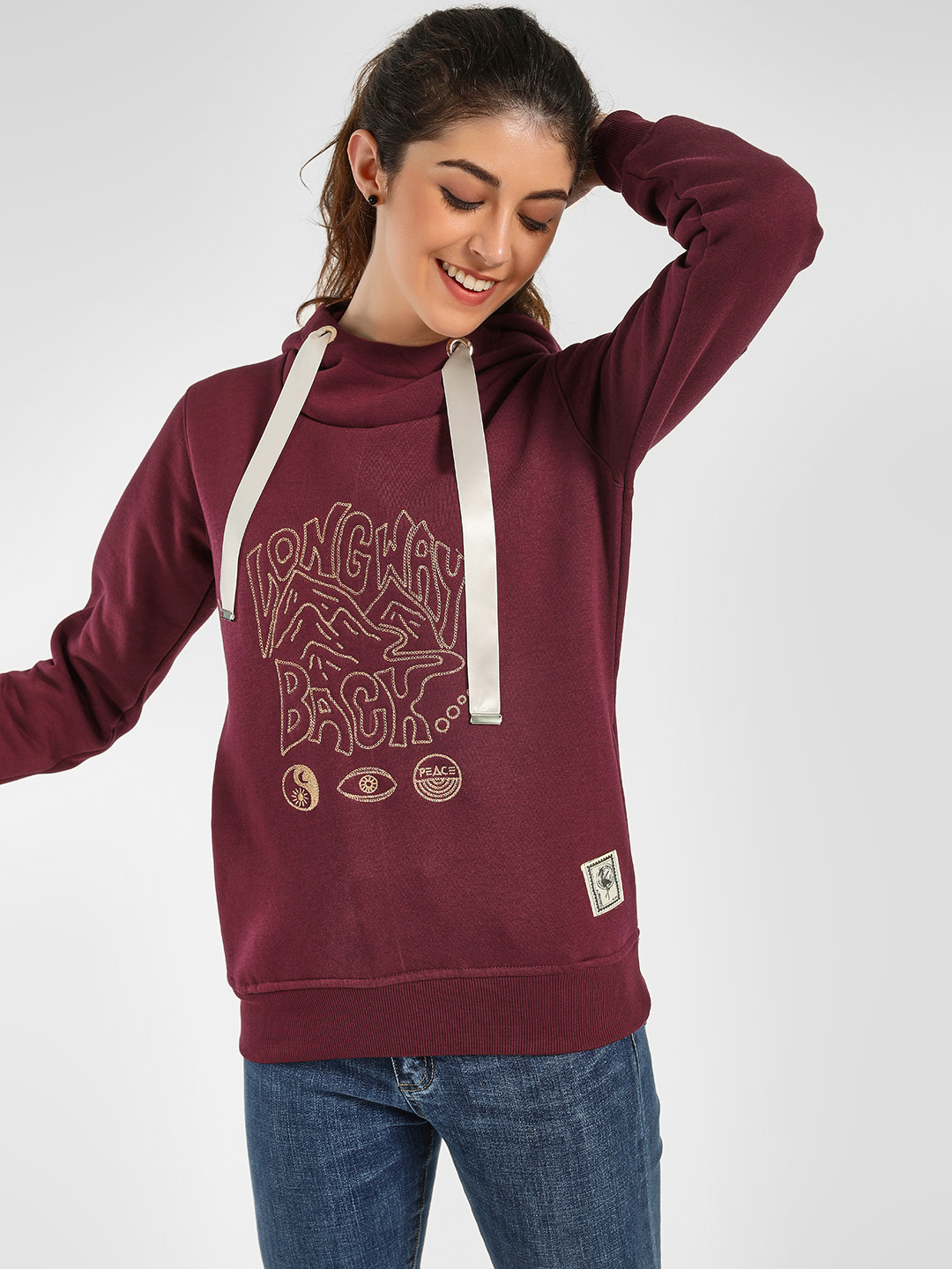 KOOVS Maroon Slogan Embroidered Long Sleeve Hoodie 1