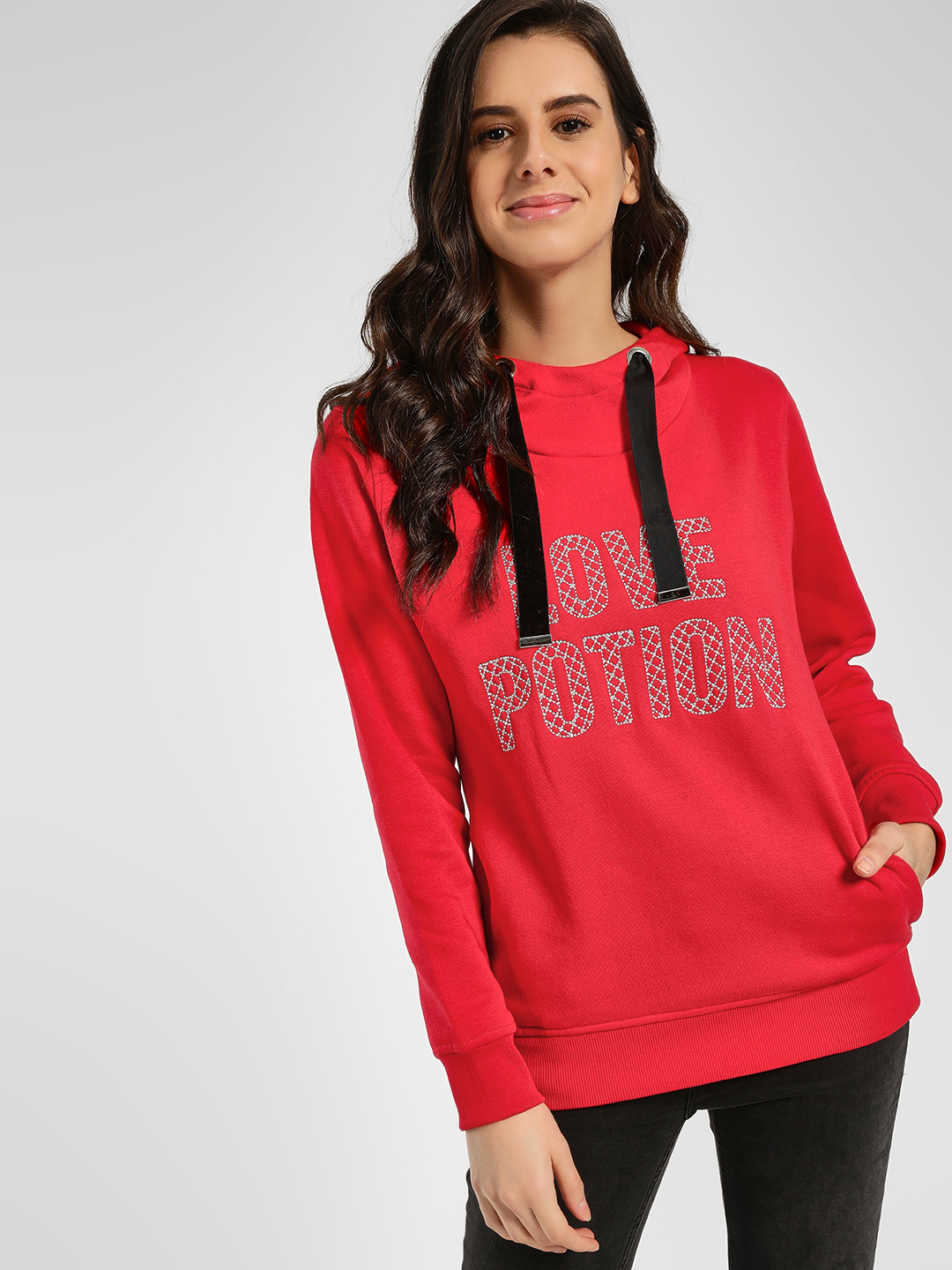 KOOVS Red Slogan Embroidered Sweat Hoodie 1