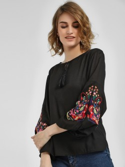 Kisscoast Embroidered Bell Sleeve Blouse