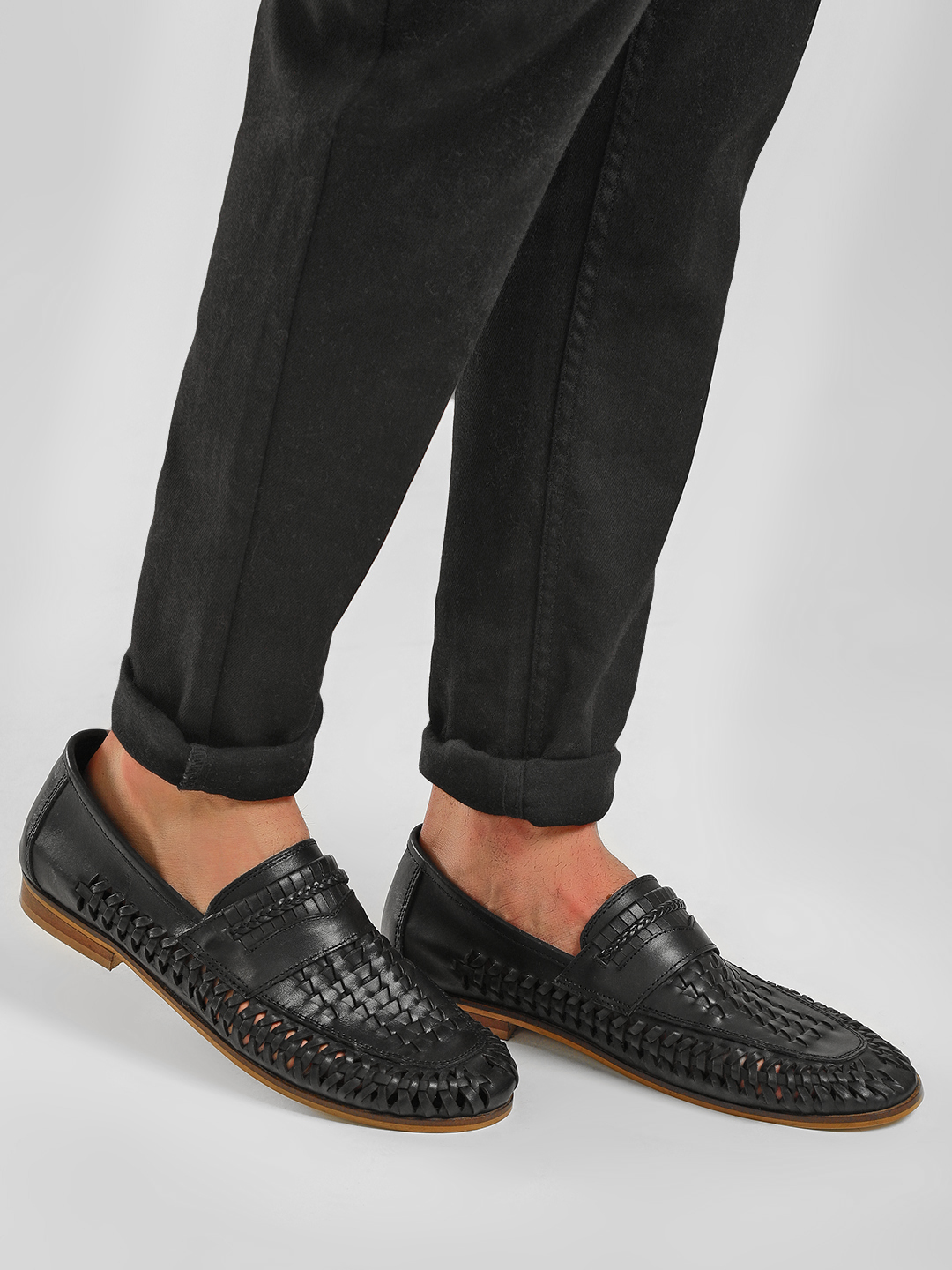 KOOVS Black Cut-Work Weave Loafers 1