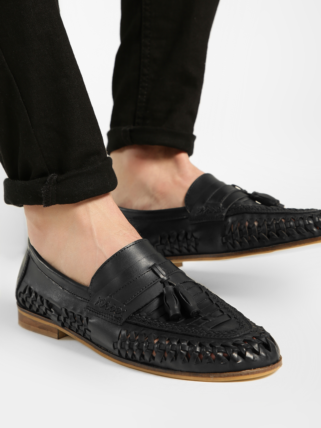 KOOVS Black Cut-Work Weave Leather Loafers 1