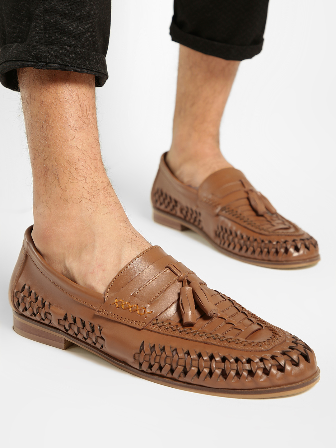 KOOVS Brown Cut-Work Weave Leather Loafers 1