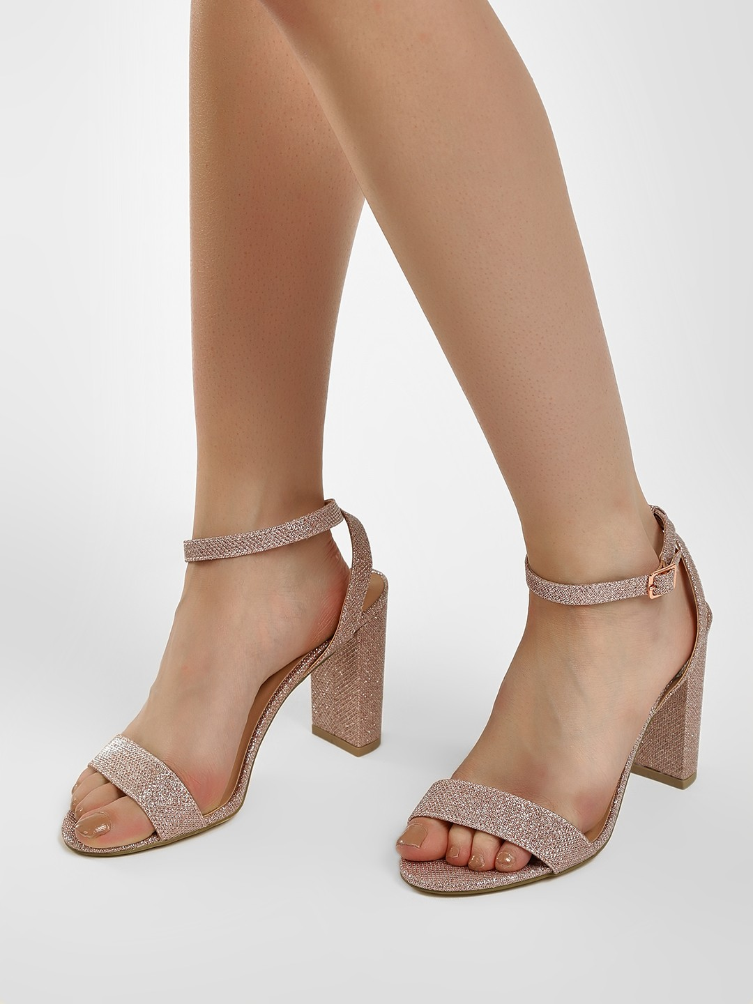New Look Pink Chunky Glitter Heeled Sandals 1