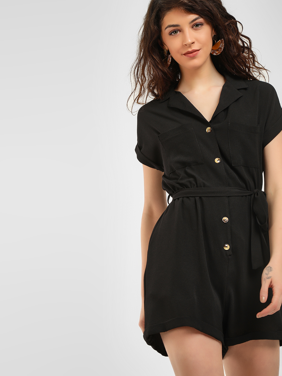 New Look Black Basic Revere Collared Playsuit 1