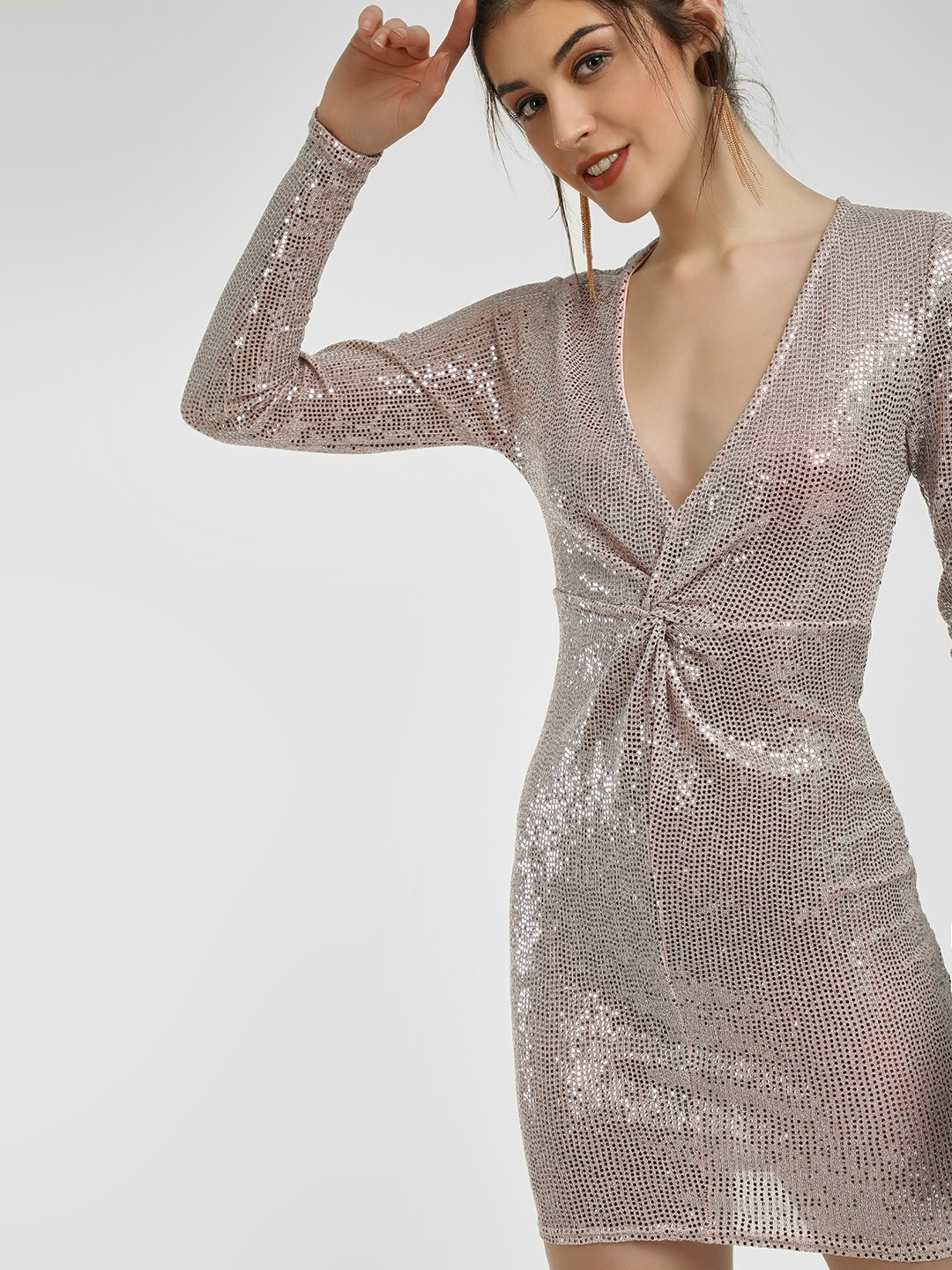 New Look Nude Sequin Plunge V-Neck Bodycon Dress 1