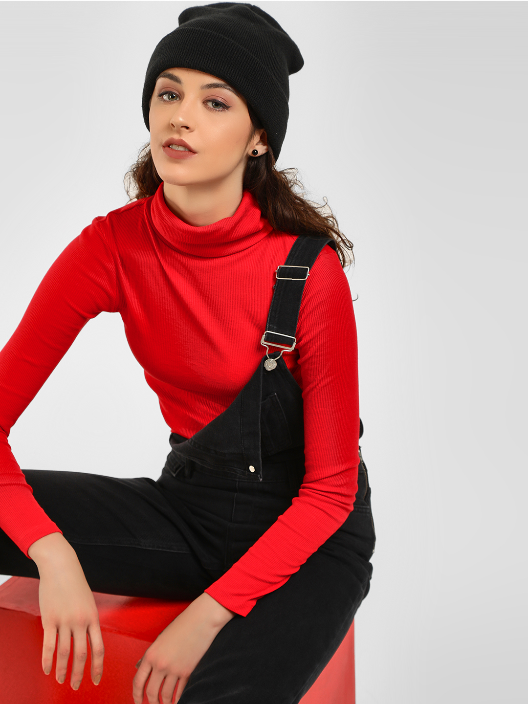 New Look Red Basic Turtleneck Ribbed Pullover 1