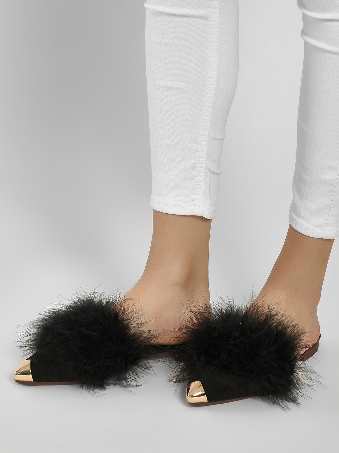 Sole Story Black Fur Metal Tip Flat Mules 1