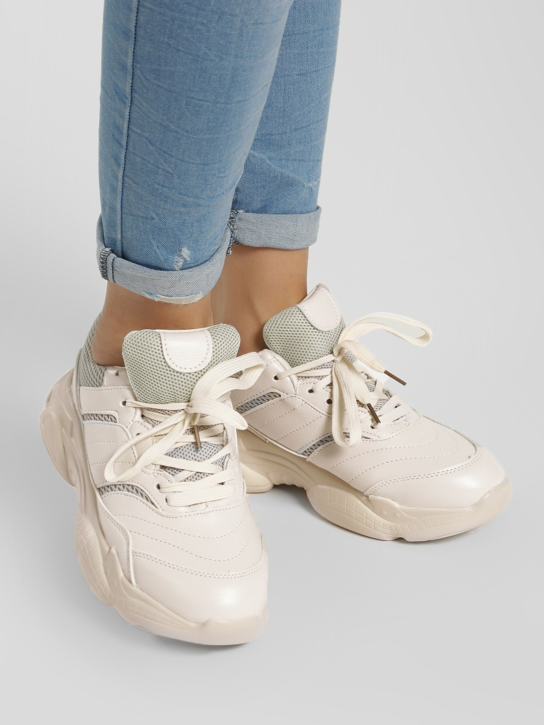 Sole Story Beige Chunky Sole Trainers 1