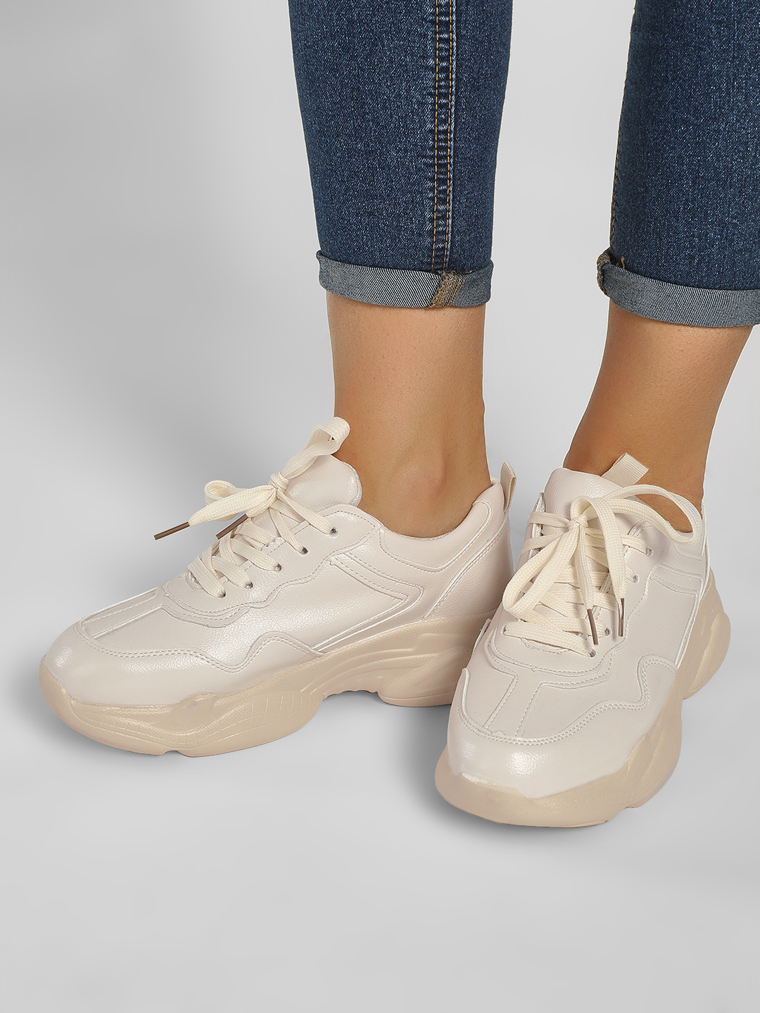 Sole Story White Chunky Sole Trainers 1