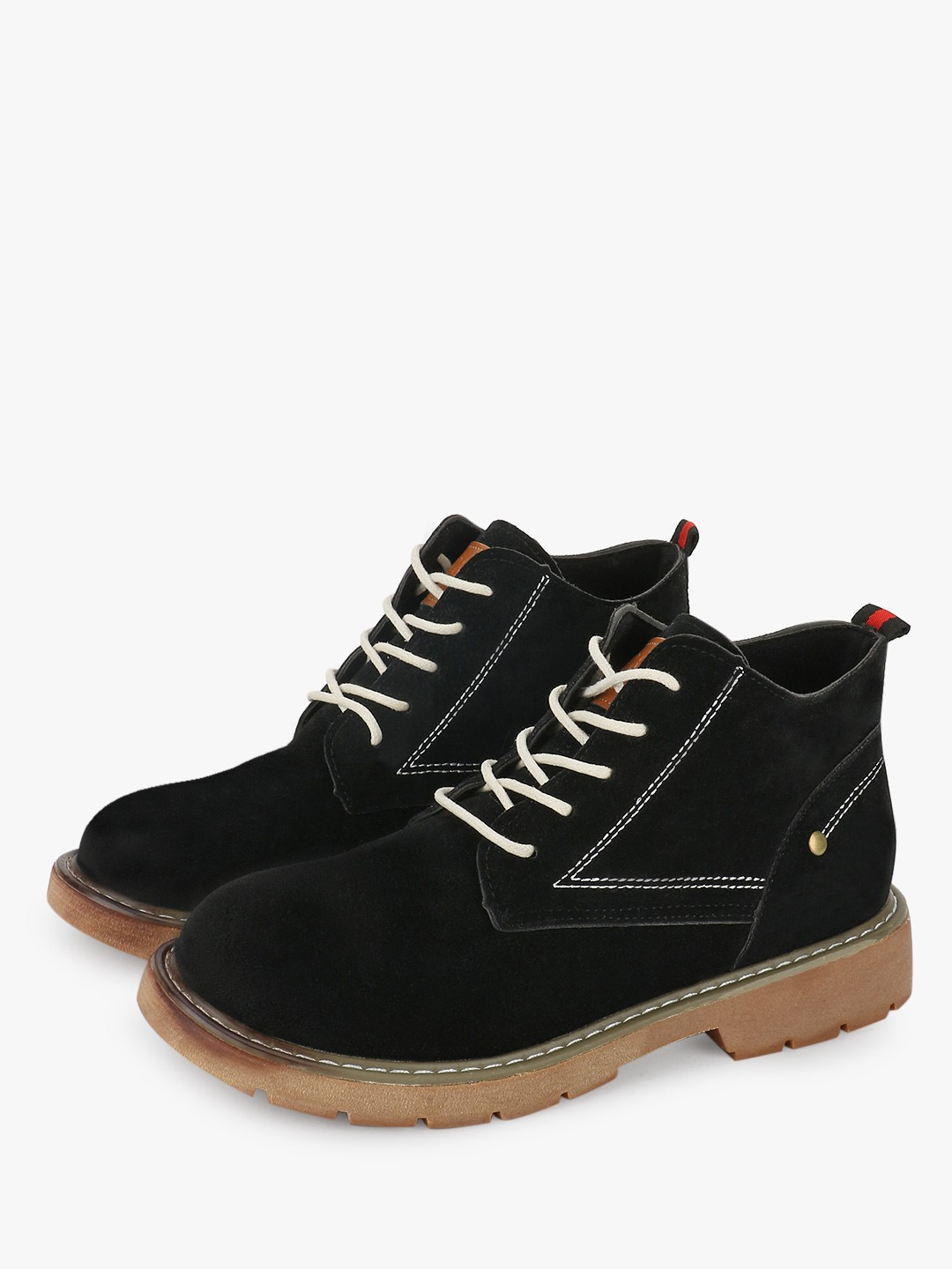 Sole Story Black Contrast Lace Ankle Boots 1