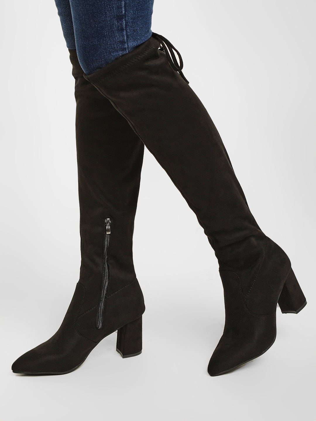 Sole Story Black Knee High Block Heeled Boots 1