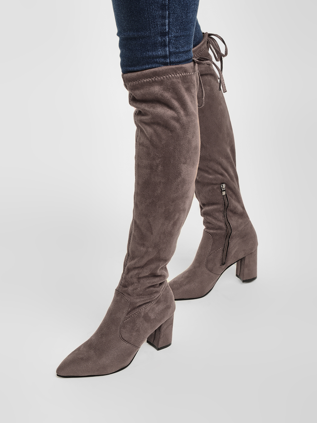 Sole Story Khaki Knee High Block Heeled Boots 1
