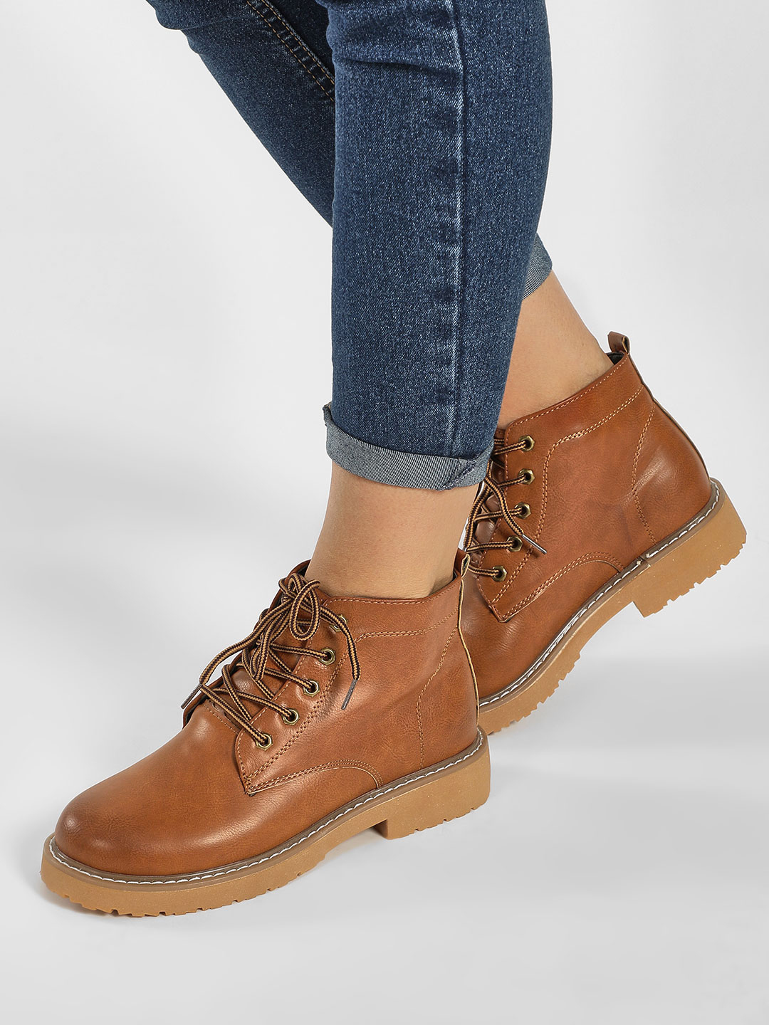 Sole Story Brown Combat Ankle Heeled Boots 1