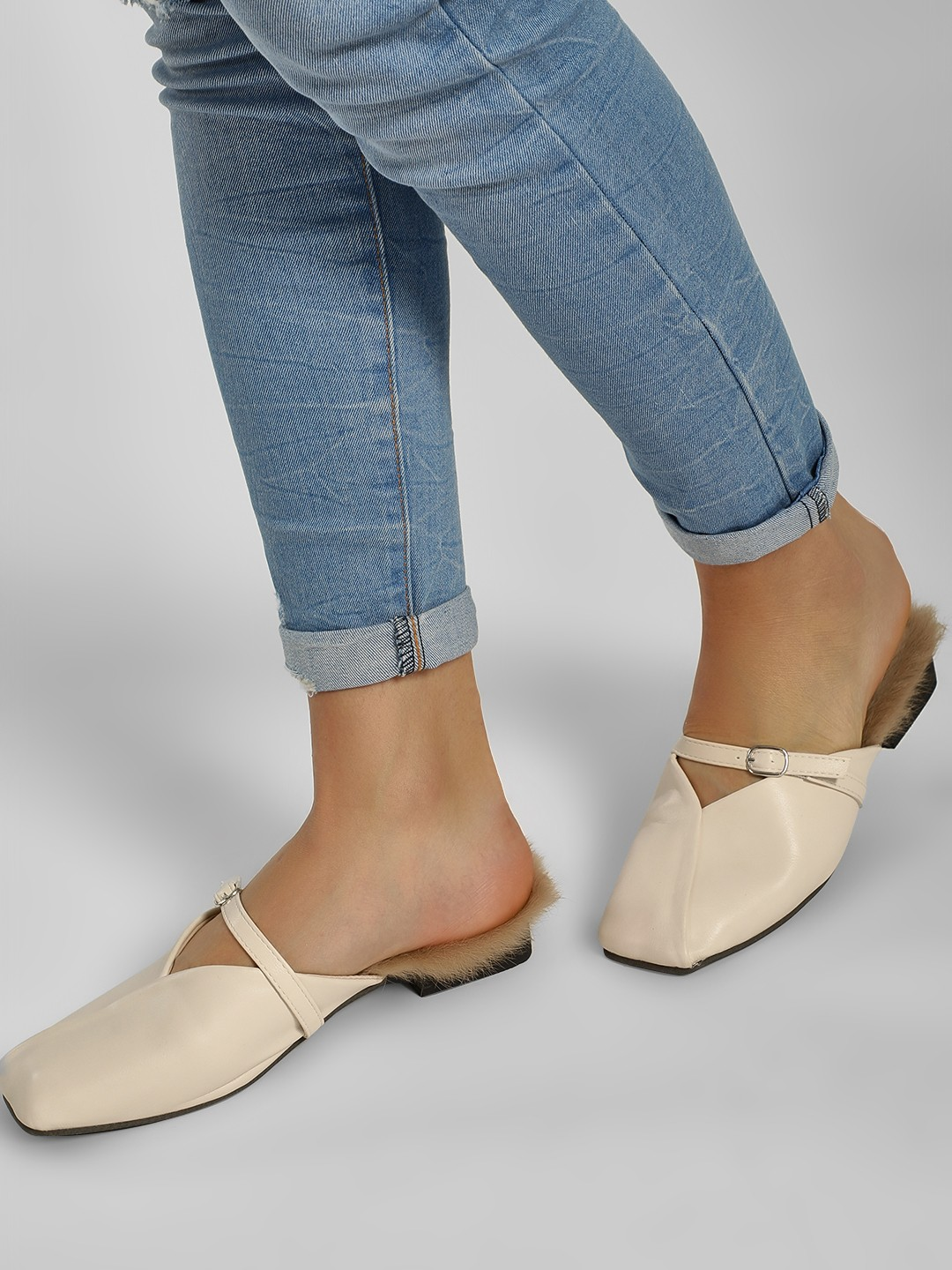 Sole Story Off-White Overlap Square Toe Flat Mules 1