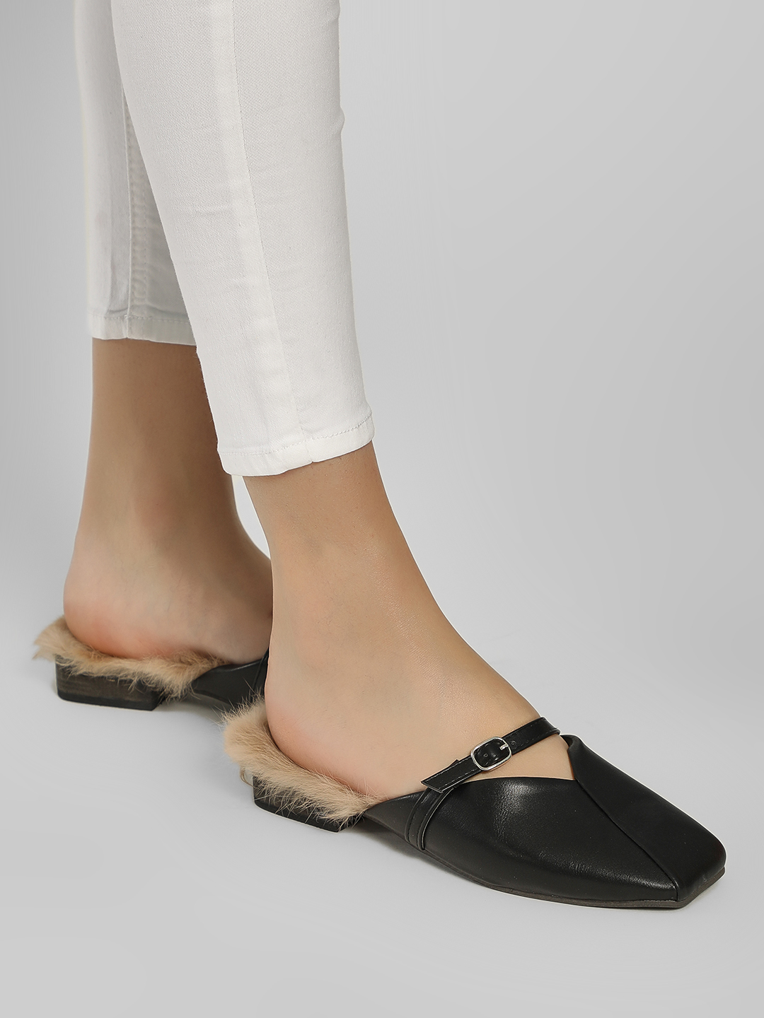 Sole Story Black Overlap Square Toe Flat Mules 1