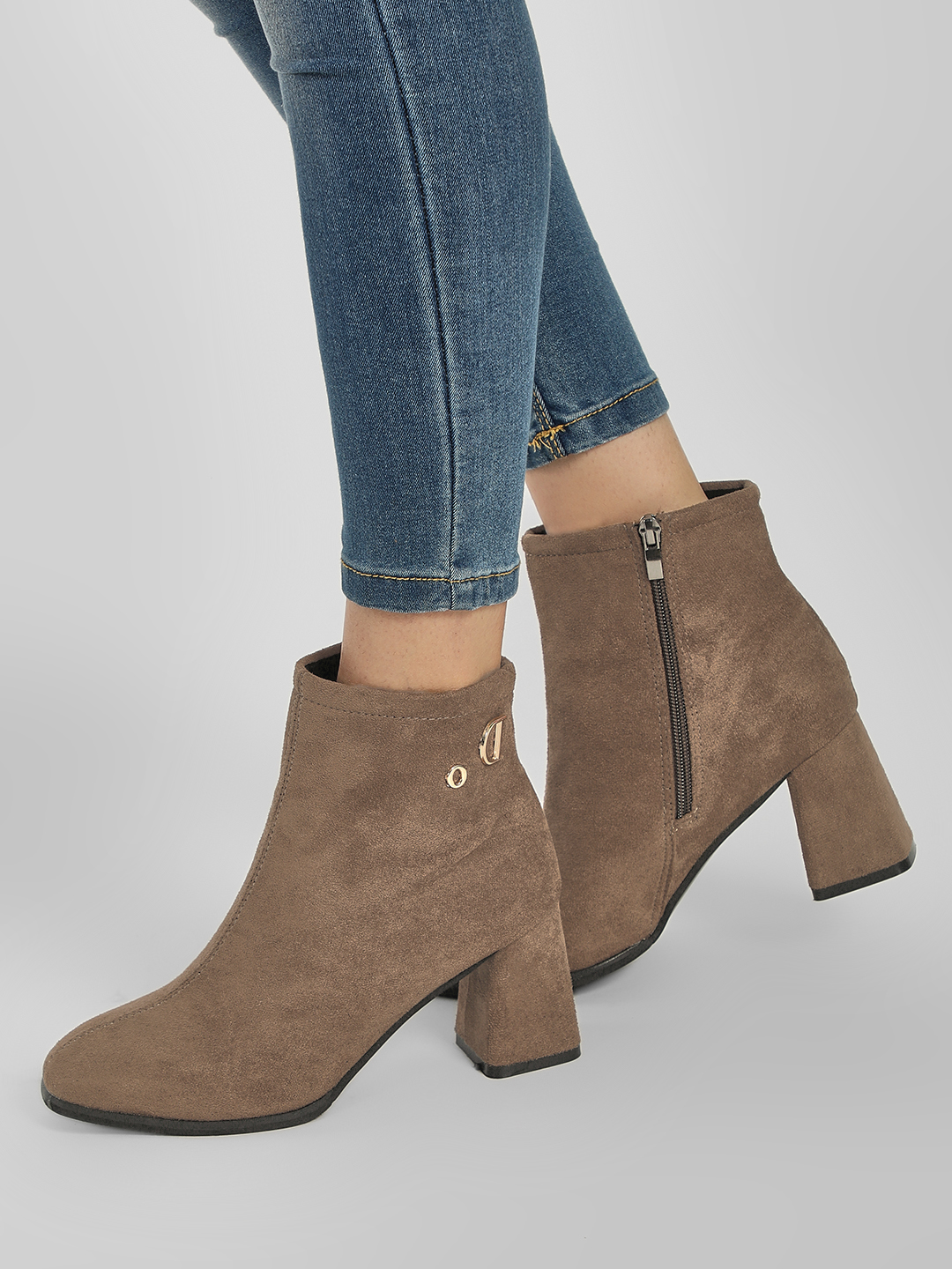 Sole Story Brown Flared Block Heel Ankle Boots 1