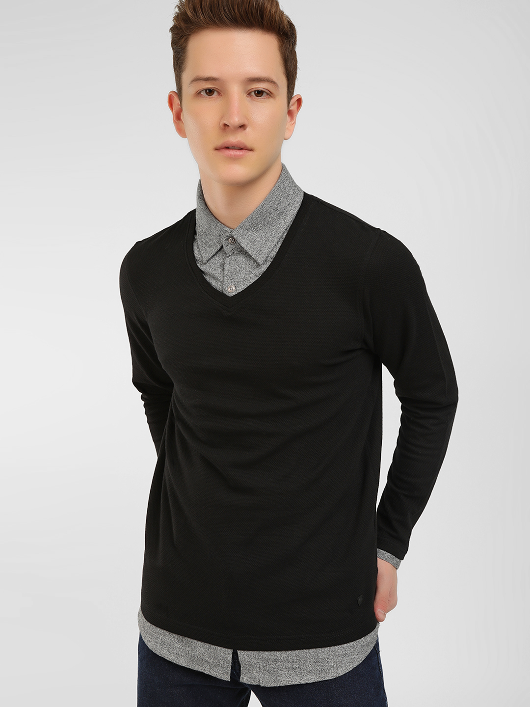 Buffalo Black Contrast Shirt Collar Pullover 1