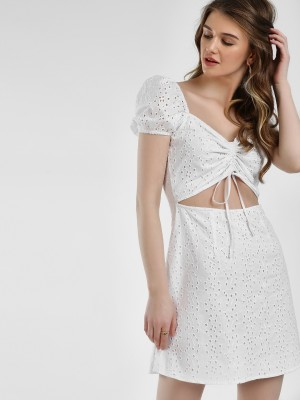 KOOVS Broderie Ruched Front Sh...
