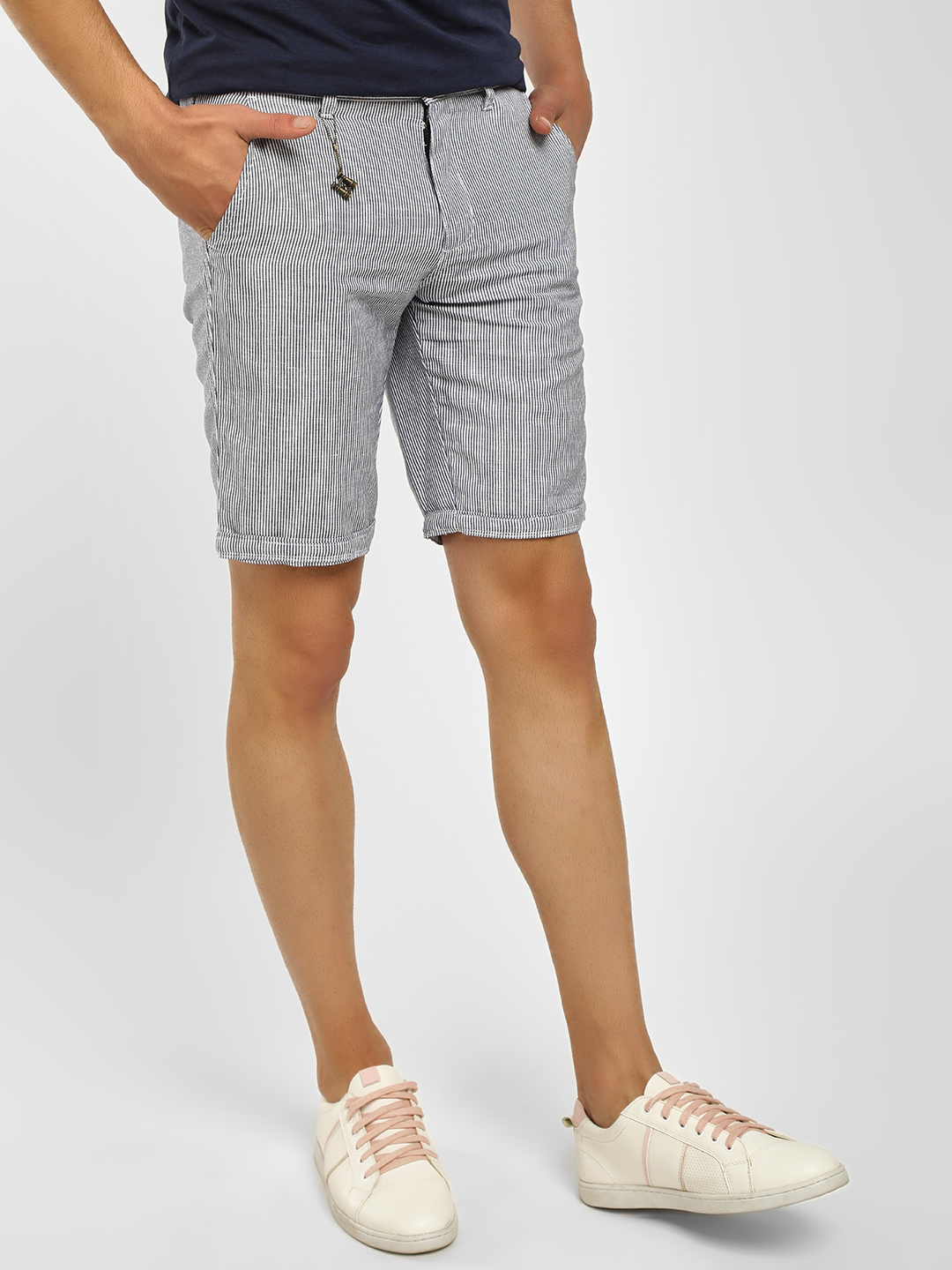 Buffalo Navy Plain Striped Woven Shorts 1
