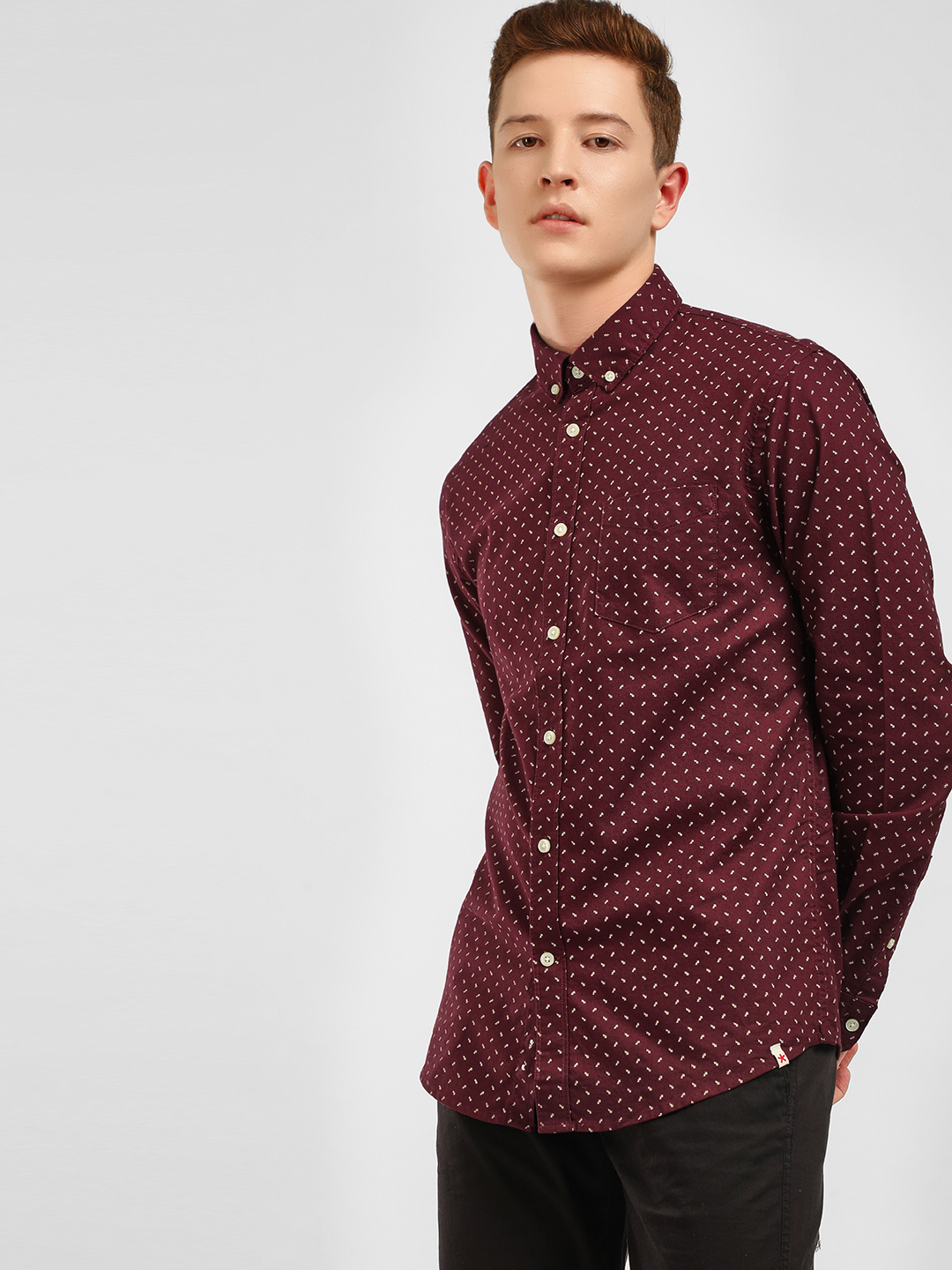 Celio Maroon All Over Print Casual Shirt 1