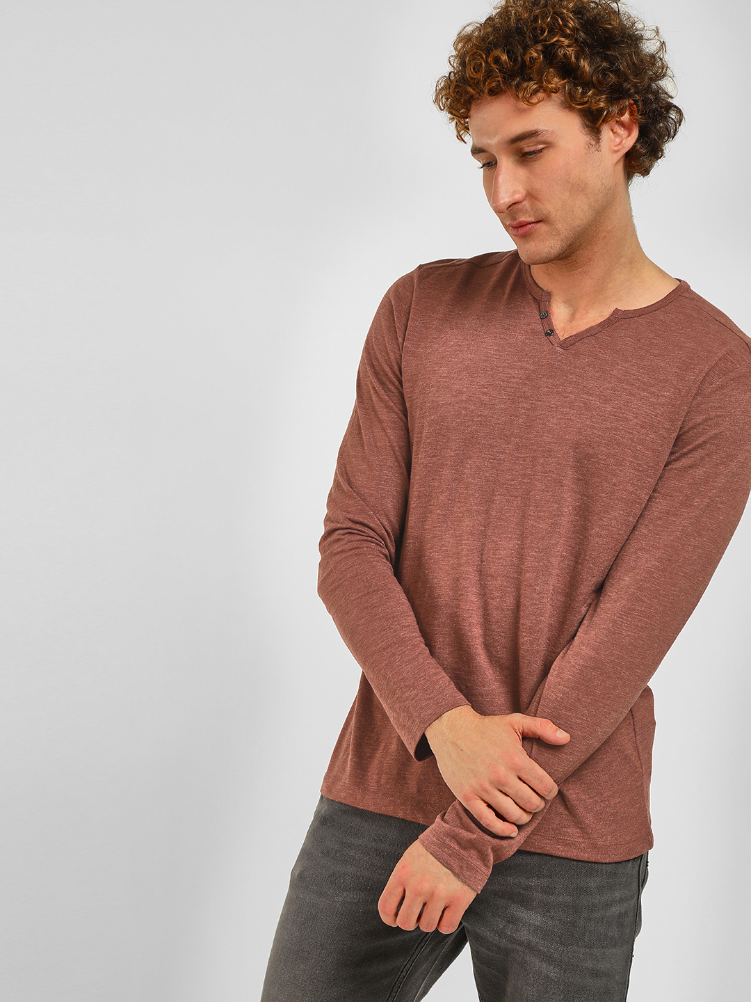 Celio Red Henley Neck Long Sleeve T-Shirt 1