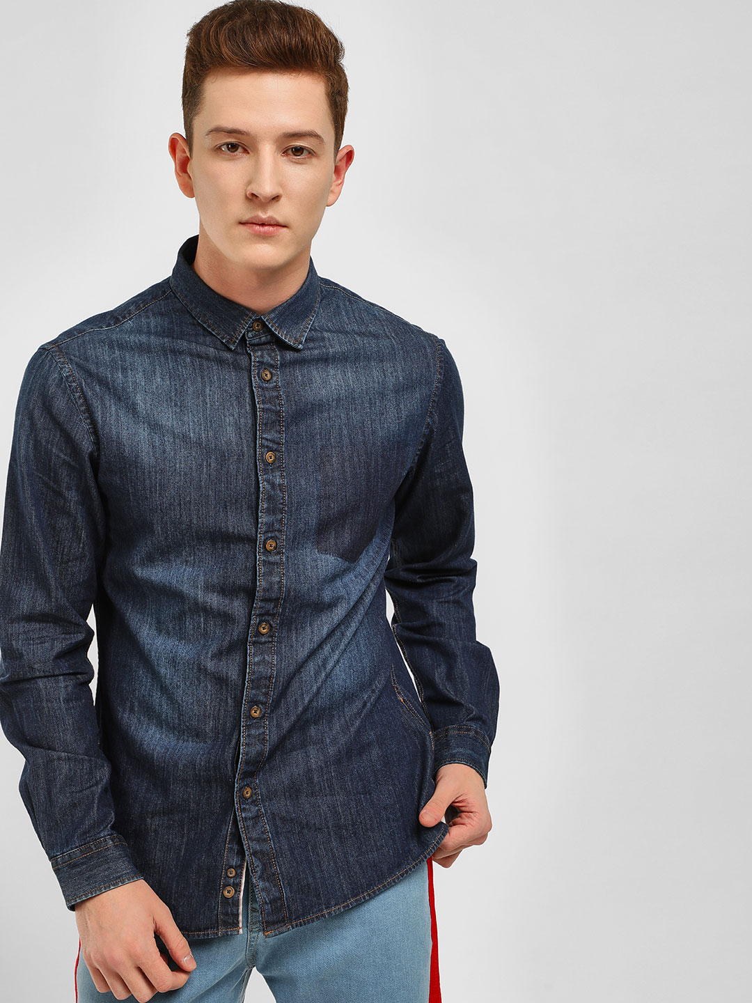 Celio Navy Long Sleeve Denim Shirt 1