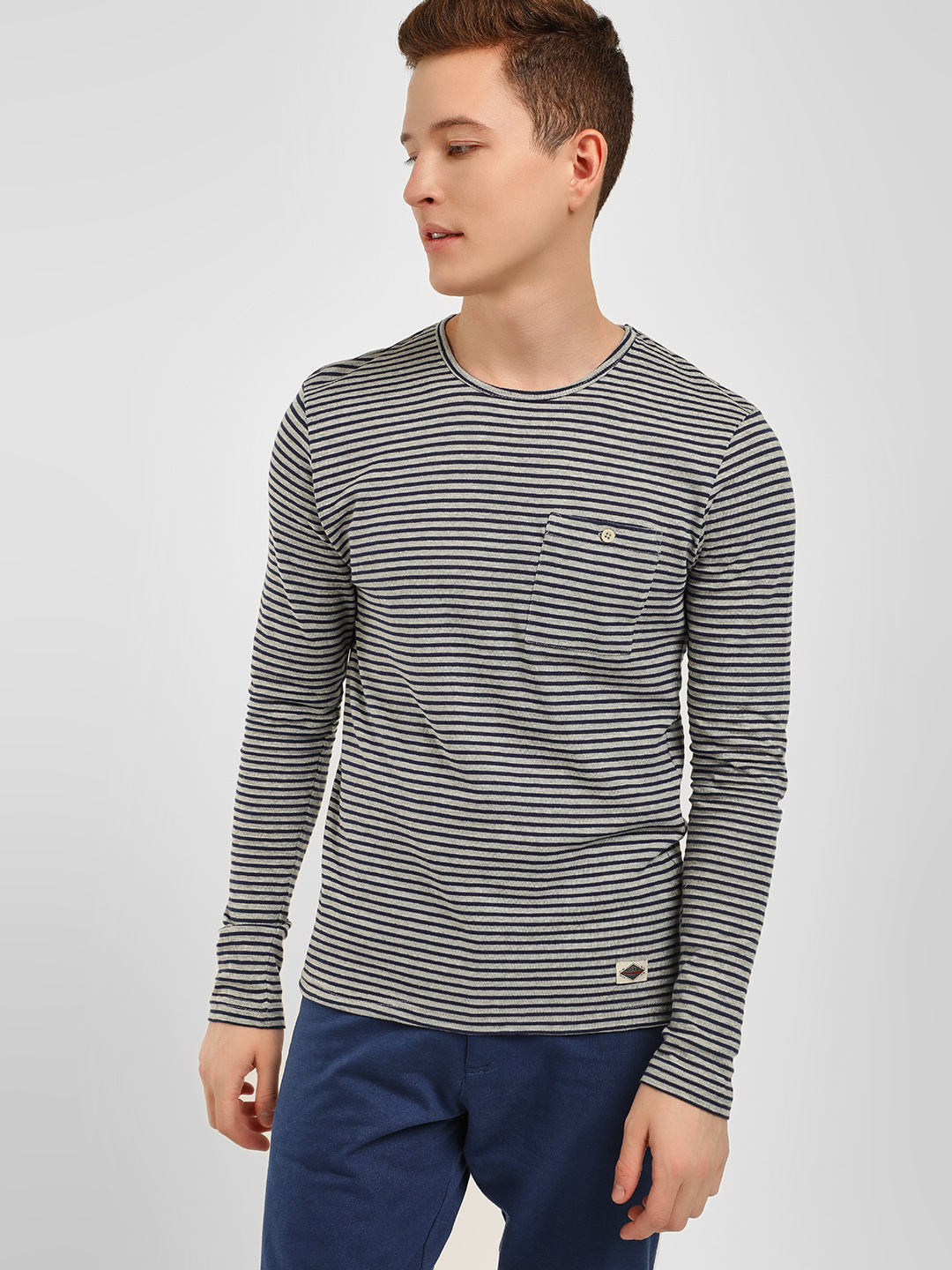 Celio Blue Crew Neck Striped T-Shirt 1