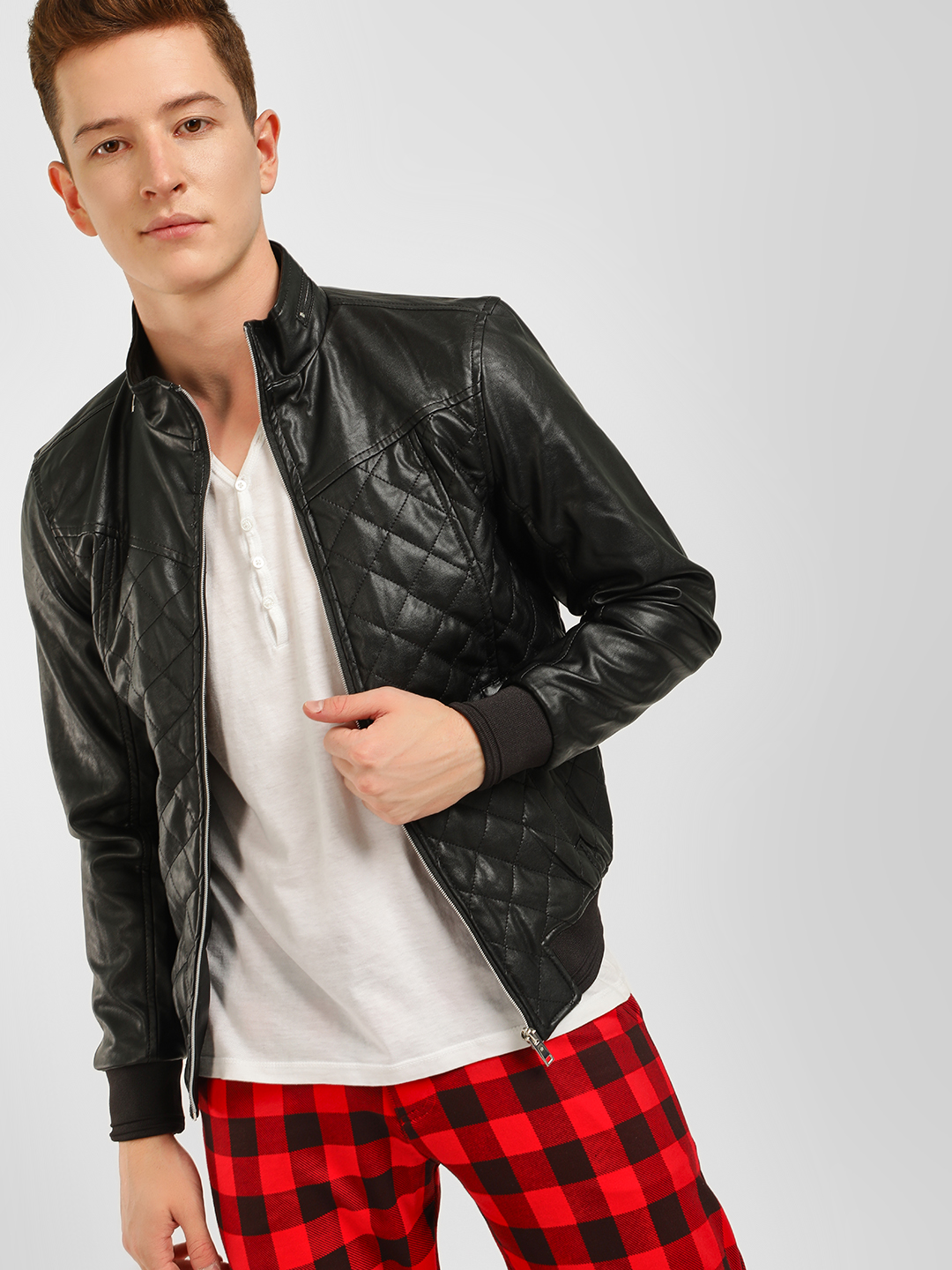 Celio Black Quilted Raised Collar Jacket 1