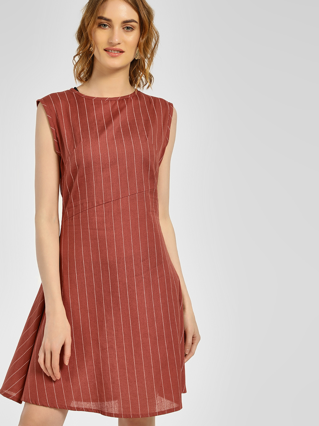 Closet Drama Rust Striped Sleeveless Shift Dress 1