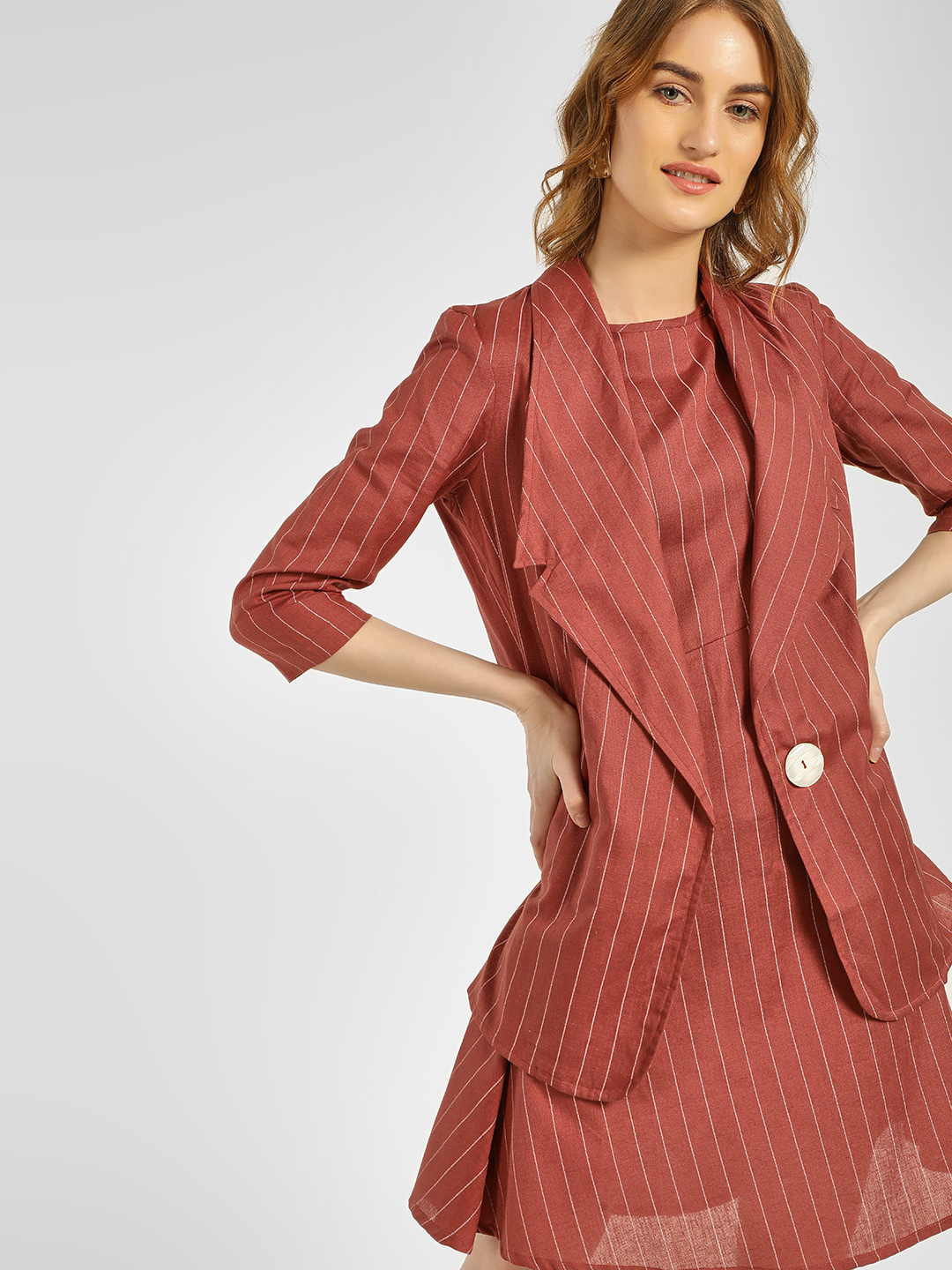 Closet Drama Rust Striped Longline Blazer 1
