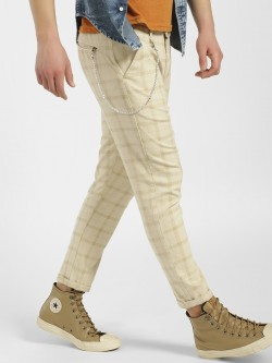 KOOVS Windowpane Check Slim Fit Chinos