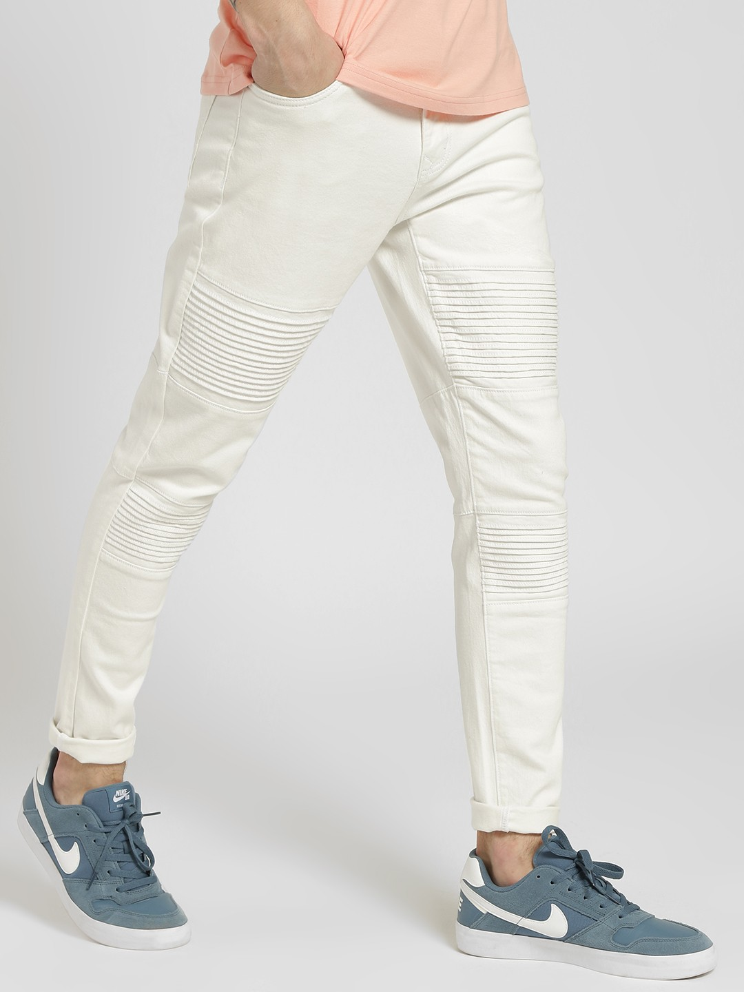 K Denim White KOOVS Biker Panel Skinny Jeans 1
