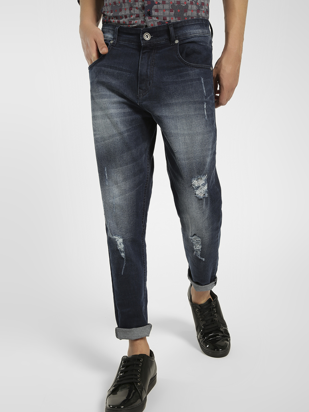 K Denim Blue KOOVS Distressed & Washed Slim Jeans 1