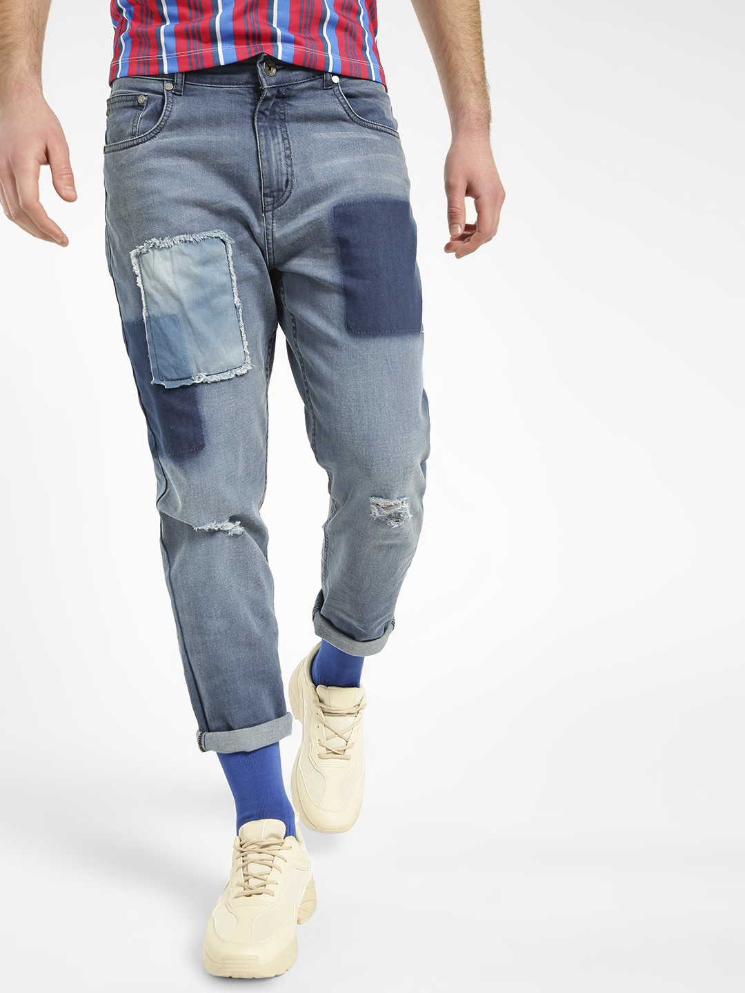 K Denim Blue KOOVS Washed Patch Panel Ripped Jeans 1