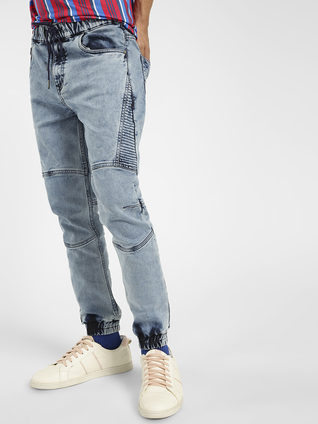 K Denim Blue KOOVS Overdyed Biker Panelled Denim Joggers 1