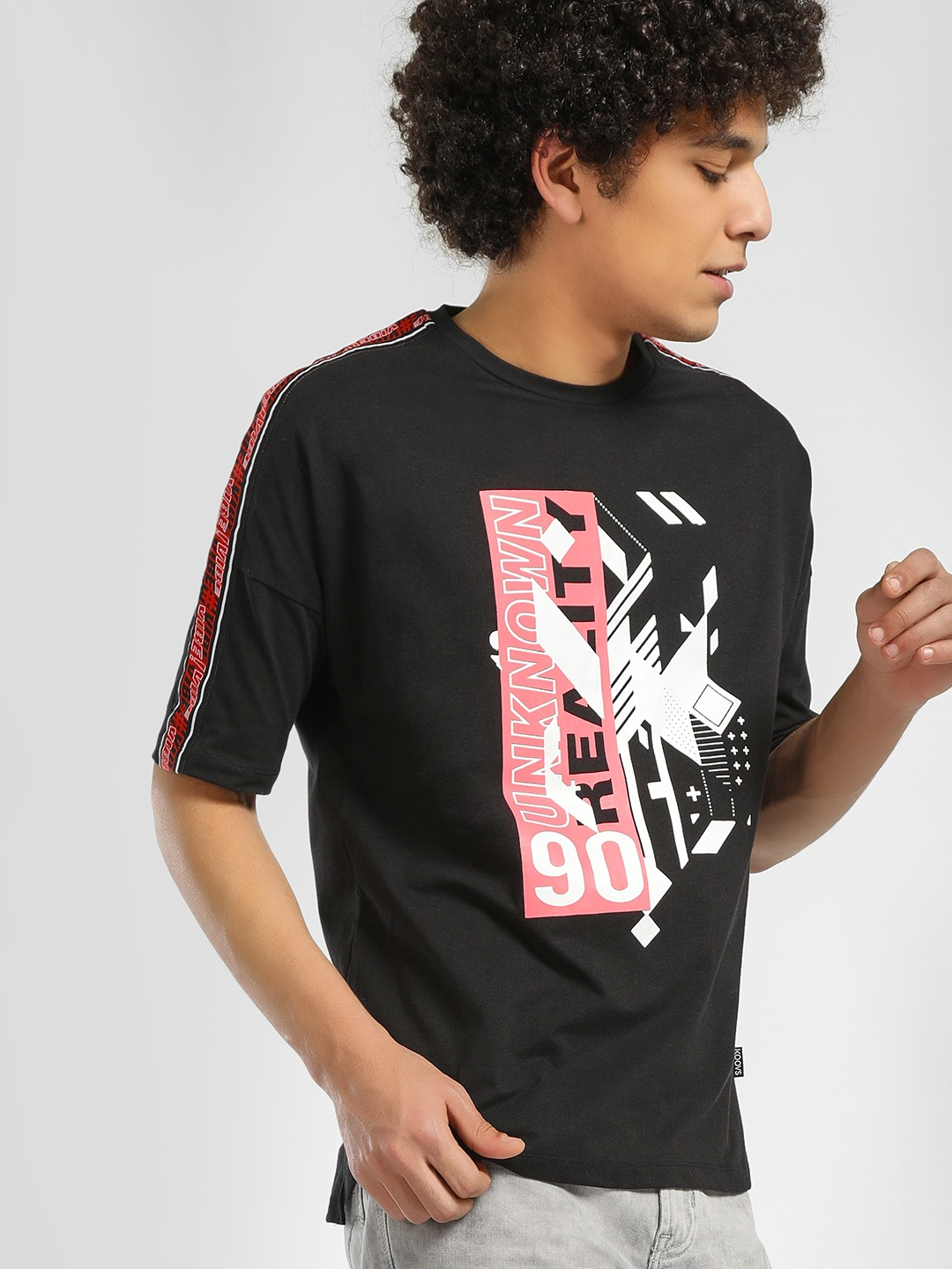 KOOVS Black Graphic Side Tape T-Shirt 1