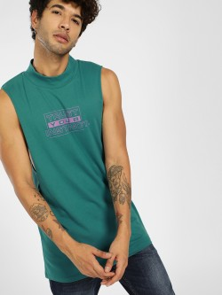 KOOVS Slogan Print High Neck Tank