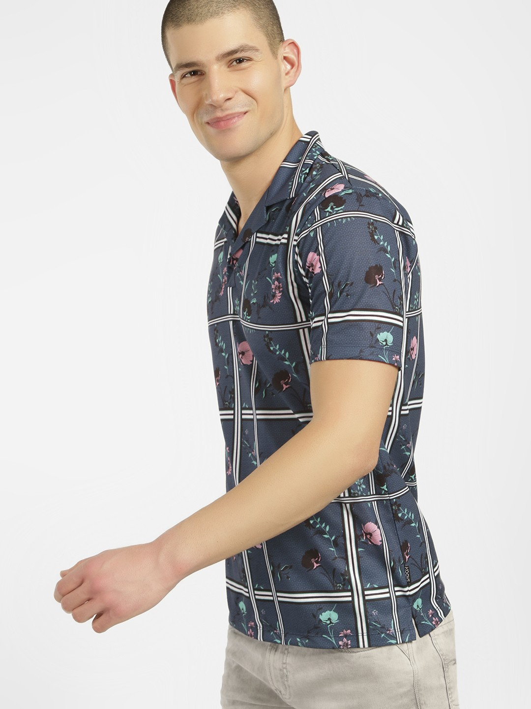 KOOVS Blue Floral Check Cuban Collar Shirt 1