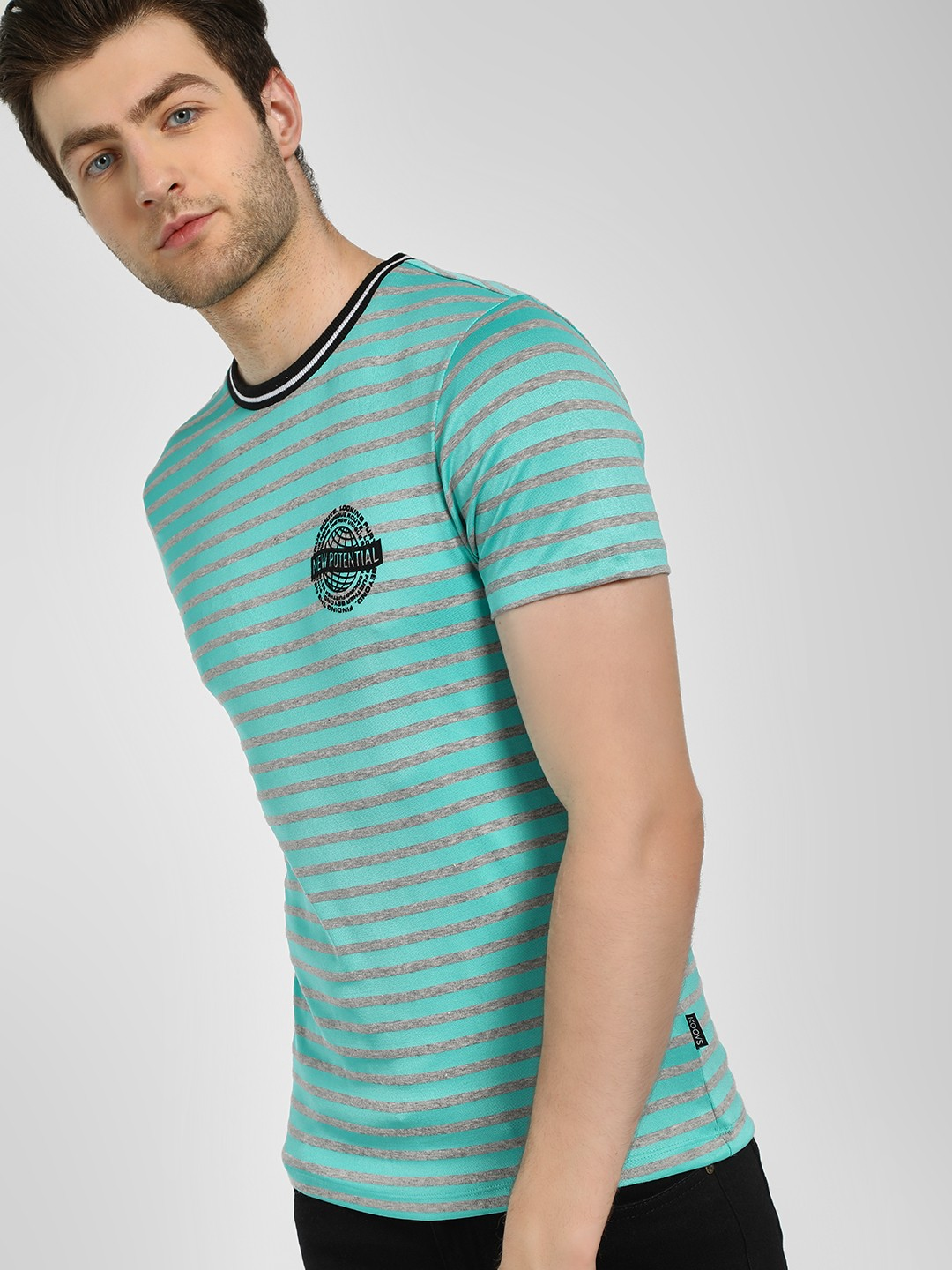 KOOVS Blue New Potential Slogan Striped T-Shirt 1