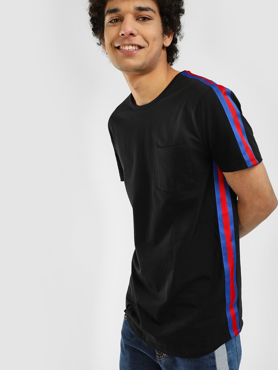 KOOVS Black Tape Trim Curved Hem T-Shirt 1