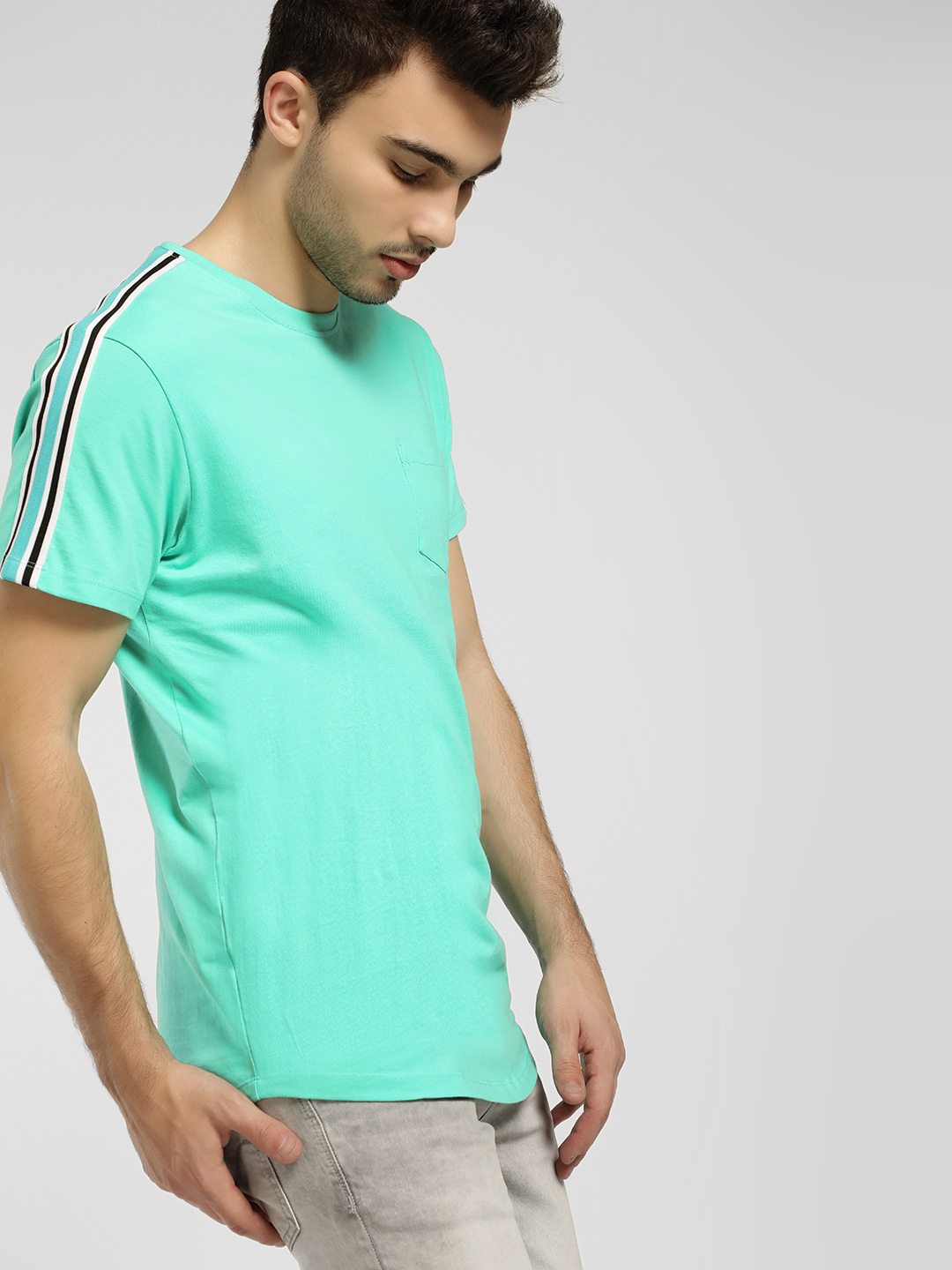 KOOVS Green Tape Trim Curved Hem T-Shirt 1