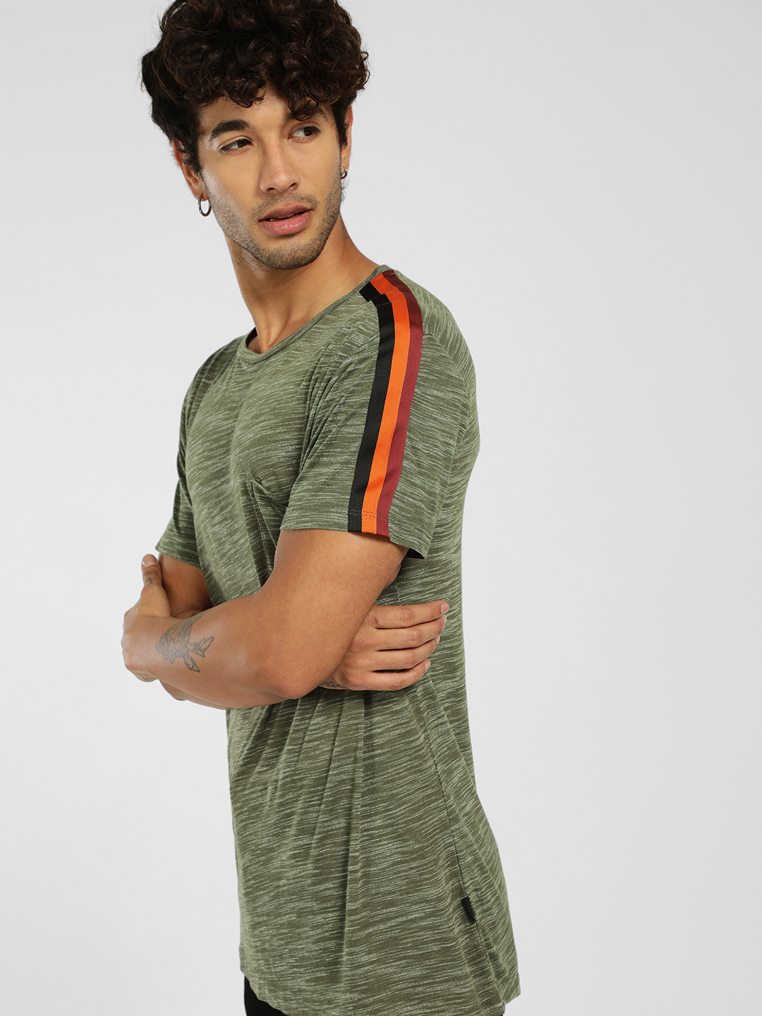 KOOVS Olive Melange Side Tape T-Shirt 1